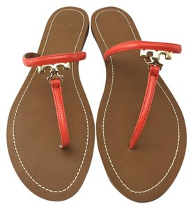 Tory Burch Miller Flip Flop Leather Orange Sandals