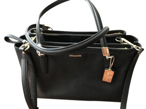 Coach Shoulder Leather Saffiano Satchel in Black