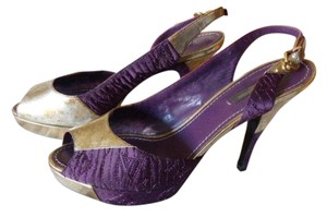 Louis Vuitton purple & light gold silver Platforms