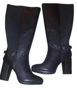 Lane Bryant Leather Stretch Panels Wide Cushion Lining Heel Black Boots