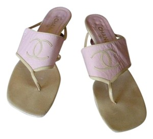 Chanel light pink & tan Sandals