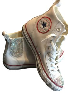 Converse White leather Bling out Athletic
