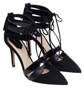 Zara Leather Lace Up Heels Pumps