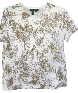 Lauren Ralph Lauren Short Sleeve Cotton Knit T Shirt white /gold