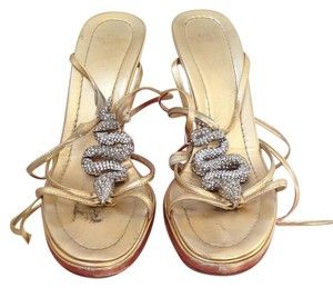 Valentino Snake Evening Gold and Rhine Stones Sandals