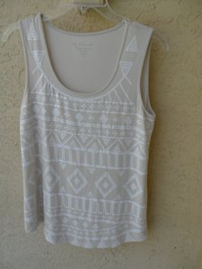 Chico's White Sequins Size 1 Cream & White Top Cream, white