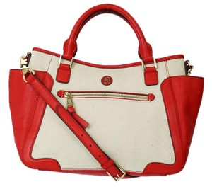 Tory Burch Canvas Satchel in Red/tan