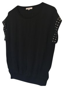 Sandro Crepe Stud Studded Top Black