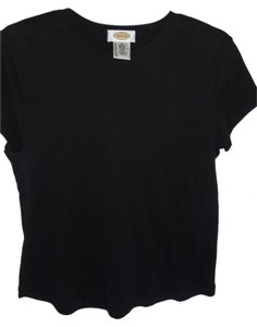 Talbots Cotton Knit Short Sleeve T Shirt black