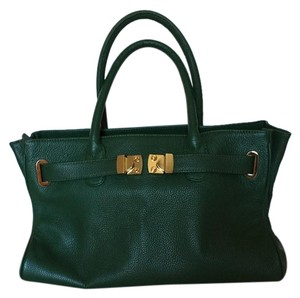 Onna Ehrlich Leather Satchel in Dark Emerald Green