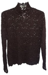 Jones New York Polyester Stretch Lace Top brown