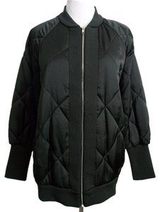 Zara Bomber Quilted Satin Medium Gift Black Jacket