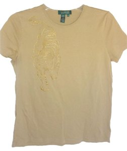 Lauren Ralph Lauren Gold Tiger Print Short Sleeve Cotton Knit T T Shirt tan
