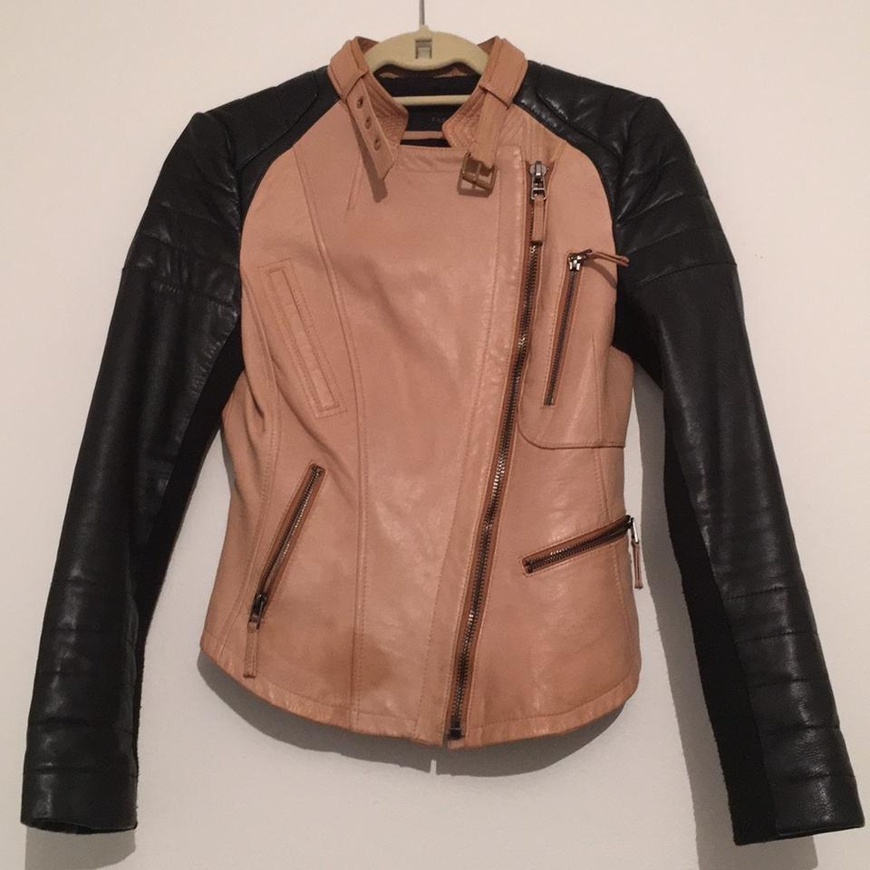 Zara Leather Biker Tan & Black Leather Jacket
