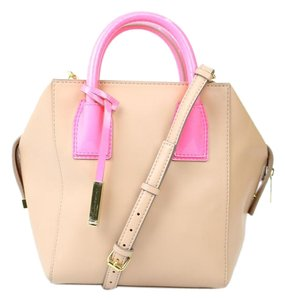 Stella McCartney Leather Pink Hangtag Satchel in Tan/Pink