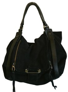 Kooba Leather Suede Satchel in Black