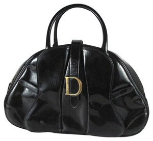 Dior Patent Leather Logo Handbag Gold Tote in Black