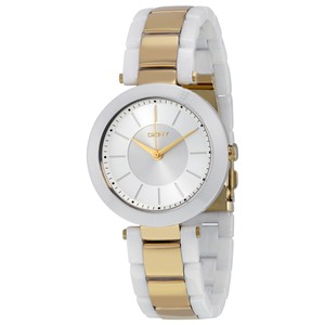 DKNY DKNY Women's Stanhope White Round Ceramic Gold Dial Ladis Watch NY2289