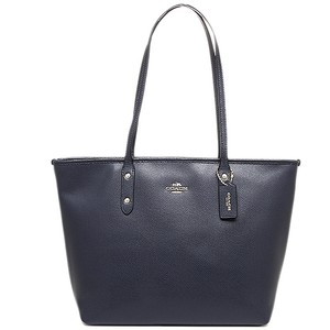 Coach Crossgrain Leather Navy Zip City Zip Medium Tote in Midnight
