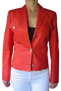 Brioni Women Soft Short Cherry Red Leather Jacket