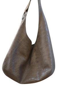 Michael Kors Lena Snakeskin Leather Hobo Tote Shoulder Bag
