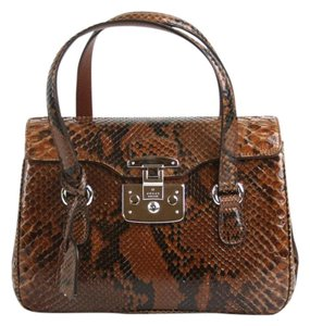 Gucci Lady Lock Python Top Satchel in Brown