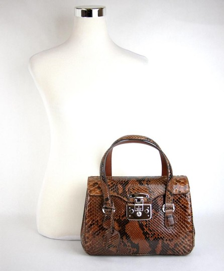 Gucci Lady Lock Python Top Satchel in Brown Image 2