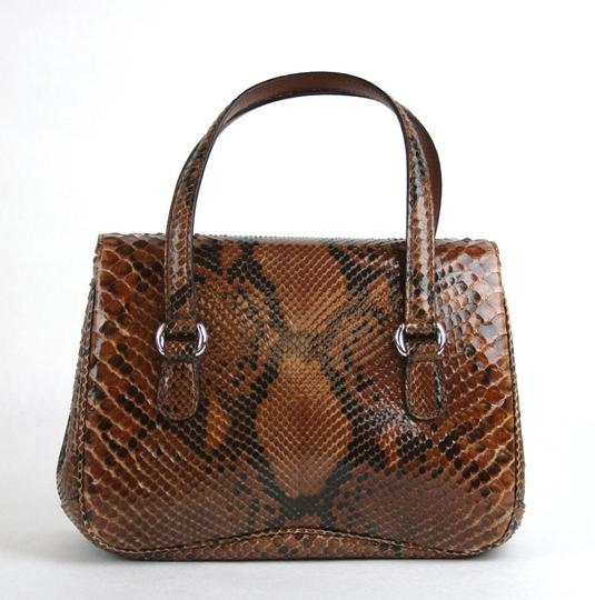 Gucci Lady Lock Python Top Satchel in Brown Image 3