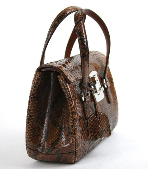 Gucci Lady Lock Python Top Satchel in Brown Image 4