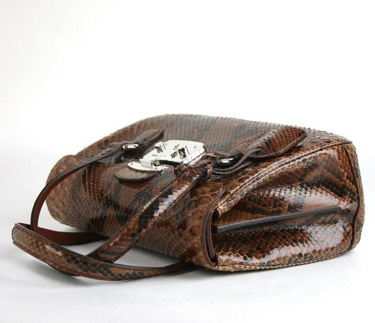 Gucci Lady Lock Python Top Satchel in Brown Image 5