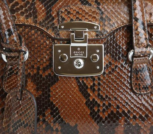Gucci Lady Lock Python Top Satchel in Brown Image 7