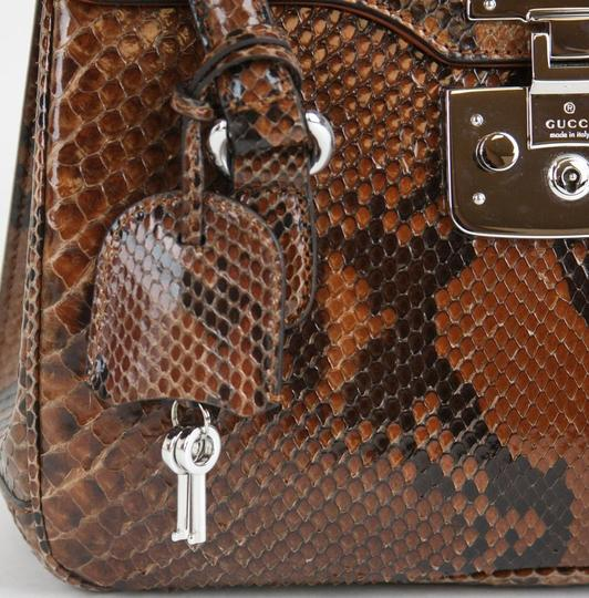 Gucci Lady Lock Python Top Satchel in Brown Image 9