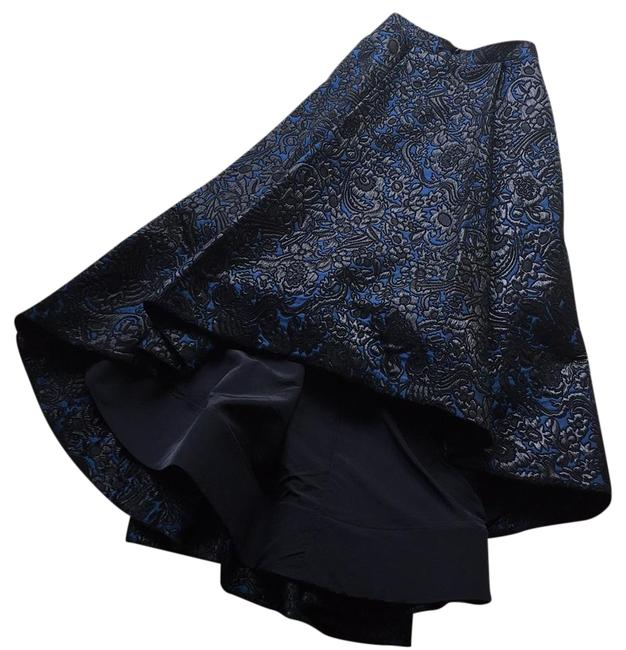 Item - Black Blue Floral Jacquard High-low Black/Blue Skirt Size 2 (XS, 26)