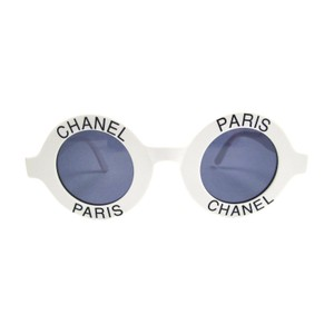 Chanel MOST WANTED SUNGLASSES ROUND PARIS LOGO VINTAGE WHITE CC HALF TINT