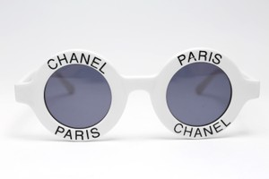 Chanel White CC Halft Tint Round Paris Most Wanted Sunglasses