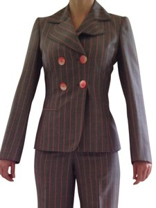 Brioni Women's Brioni Double Breast Pin Stripe Suit with Belt