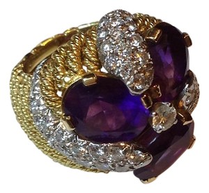 Custom design by a Dallas jeweler in the 1990s. Never worn. Diamond And Amethyst Statement Ring