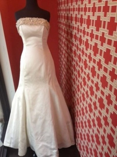 Maggie Sottero Alabaster Satin Brooke Modern Wedding Dress Size 12 (L)