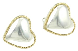 Tiffany & Co. Tiffany Co. Sterling Silver 18k Yellow Gold Heart Stud Earrings