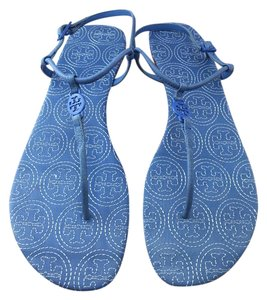 Tory Burch Emmy Stiched Ocean Blue Sandals