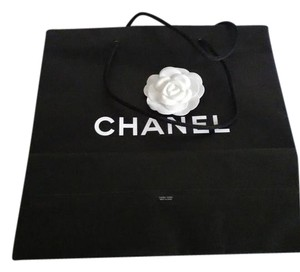 Chanel Chanel black shopping bag with white camelia flower,shoe dust bag