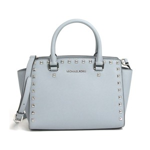 Michael Kors Stud Medium Saffiano Leather Satchel in Dusty Blue / Silver
