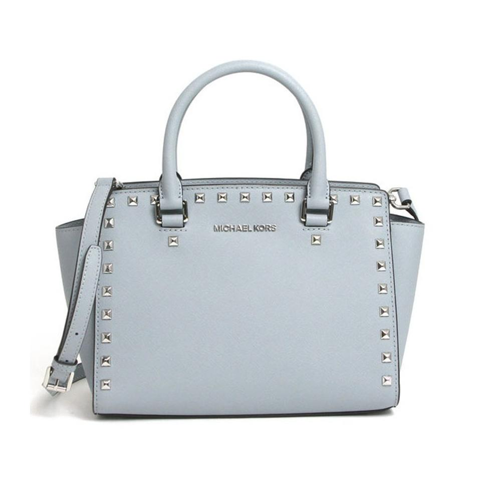 be5af9e902c5 Michael Kors Stud Medium Saffiano Leather Satchel in Dusty Blue / Silver  Image 0 ...