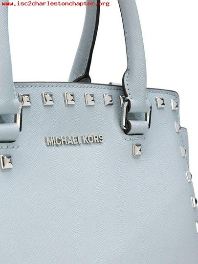 Michael Kors Stud Medium Saffiano Leather Satchel in Dusty Blue / Silver Image 3