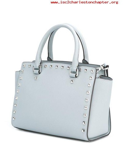 Michael Kors Stud Medium Saffiano Leather Satchel in Dusty Blue / Silver Image 5