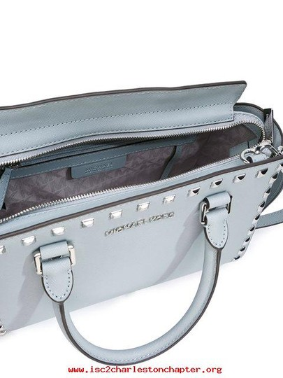 Michael Kors Stud Medium Saffiano Leather Satchel in Dusty Blue / Silver Image 7