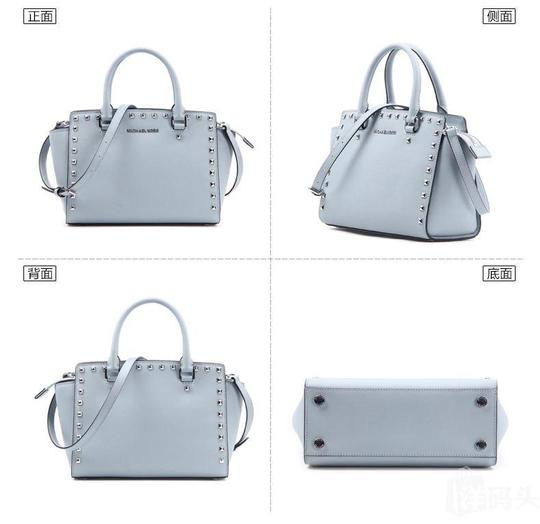 Michael Kors Stud Medium Saffiano Leather Satchel in Dusty Blue / Silver Image 8