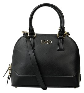 Salvatore Ferragamo Leather Gold Satchel in Black