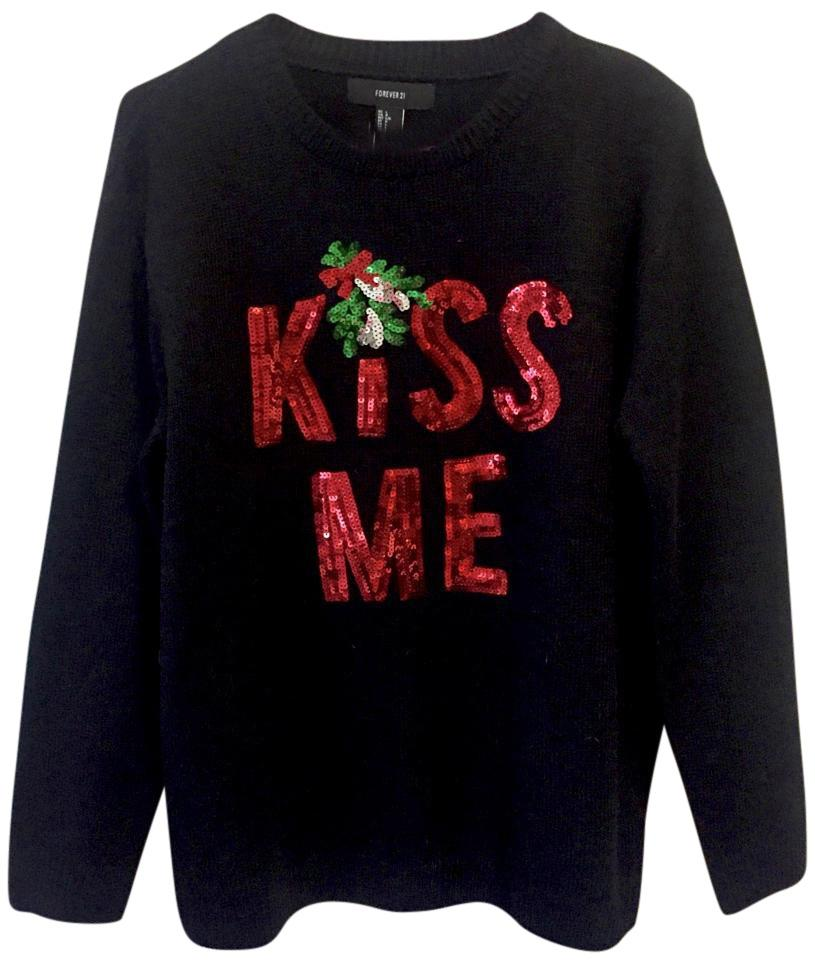 Forever 21 Black Red Kiss Me Sequin Christmas Sweater Sweatshirt ...