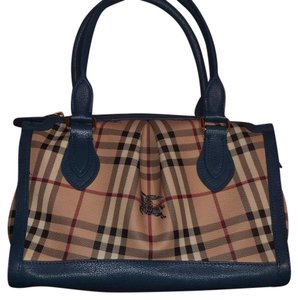 Burberry Tote in Brown With Blue Accents